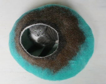 Cat Bed / Cave / House / Vessel - Hand Felted Wool - Teal to Brown Stone - Crisp Contemporary Design