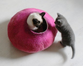 Hot PInk Bubble Large Size - Hand Felted Wool Cat Bed / Vessel - Crisp Contemporary Design