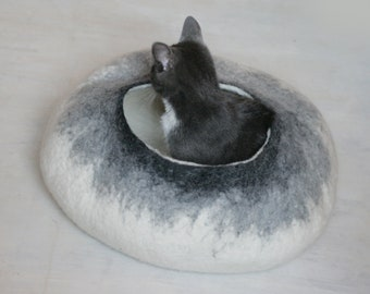 Pet Cave Cat Cave Cat Bed Vessel Furniture - White to Gray Bubble - Hand Felted Wool READY TO SHIP Crisp Contemporary Modern Minimal Design