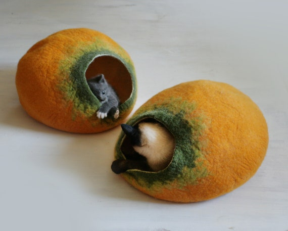Cat Nap Cocoon / Cave / Bed / House / Vessel / Furniture -Hand Felted Wool - Crisp Contemporary Modern Design - READY TO SHIP Yellow Pumpkin