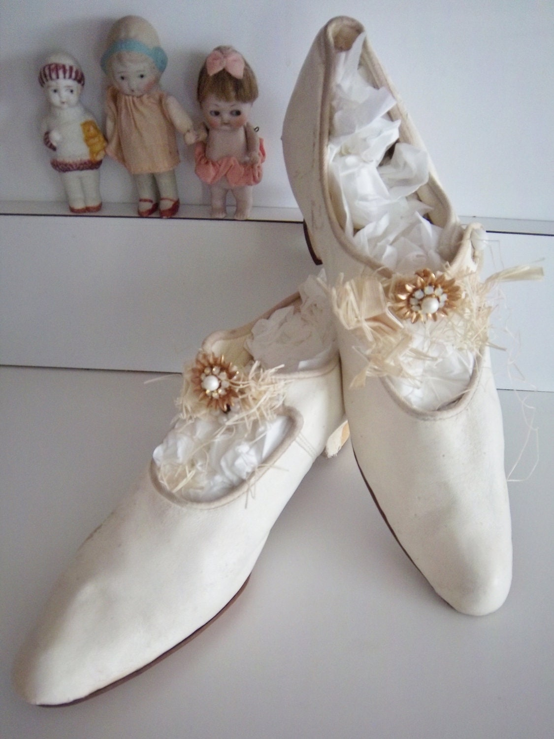 Victorian Edwardian Antique Silk Wedding Shoes Slipper Heels