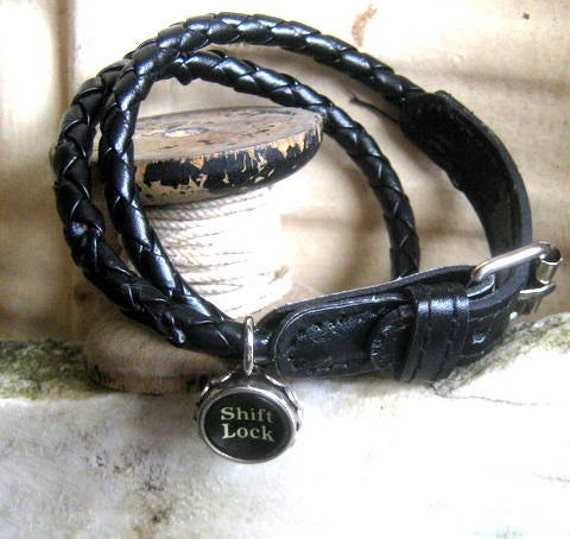 Vintage typewriter key bracelet leather wrap