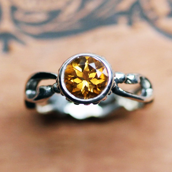Citrine engagement ring - November birthstone - filigree sterling ring - renaissance - Wrought - size 6.5