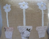 Antique FRENCH SCRIPT & FABLES Flower Pots Burlap Pillow Cover