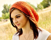 Crochet Hat Womens Hat Slouchy Beanie - Weekender Slouchy Hat in Tangerine Alpaca Crochet Hat - Orange Hat Womens Accessories Winter Hat