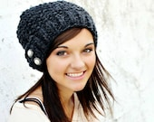 Knit Hat Grey Womens Hat - Seed Beret Hat in Charcoal Grey Knit Hat - Grey Hat Grey Beret Grey Beanie Womens Accessories