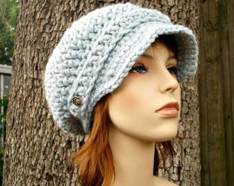 Crochet Hat Blue Womens Hat Blue Newsboy Hat - Crochet Newsboy Hat in Glacier Blue Crochet Hat - Blue Hat Womens Accessories