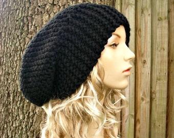 Black Knit Hat Black Womens Hat Black Slouchy Beanie - Black Slouchy Hat Black Mens Hat - Black Hat Black Beanie Womens Accessories