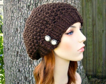 Knit Hat Womens Hat - Seed Beret Hat in Chocolate Brown Knit Hat - Brown Hat Brown Beanie Brown Beret Womens Accessories