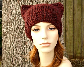 Burgundy Red Cat Beanie Chunky Knit Hat Womens Hat - Cabernet Red Knit Hat Red Hat Red Beanie Red Cat Hat Womens Accessories Winter Hat