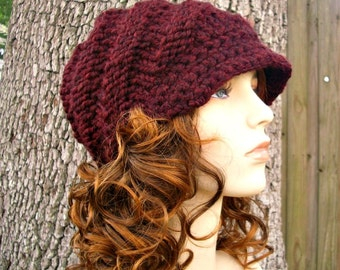 Red Knit Hat Red Womens Hat Red Newsboy Hat - Swirl Beanie with Visor in Oxblood Wine - Red Hat Wine Hat Red Beanie Womens Accessories