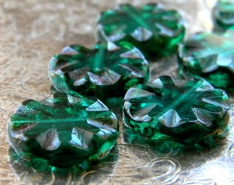 Emerald City (6) -Czech Glass Floral Coins 18mm