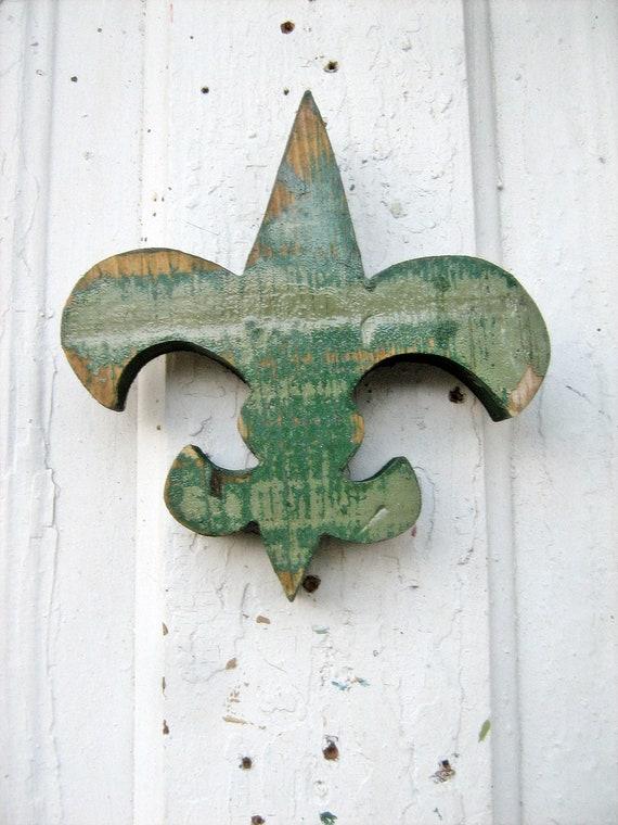 Fleur de Lis Forest Green Reclaimed Wood Louisiana New Orleans