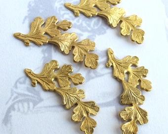 Brass Leaf Branch Pendants (4X) (M800)