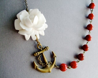 Statement Necklace Anchor Necklace White Necklace Red Necklace Bridesmaid Gift Bridesmaid Jewelry Nautical Necklace Wedding Necklace Gift
