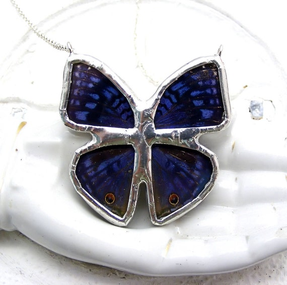 Real Butterfly Wing Necklace Precis radama