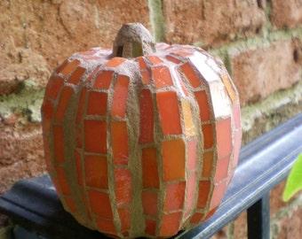 Orange Stained Glass 3-D Mosaic Pumpkin