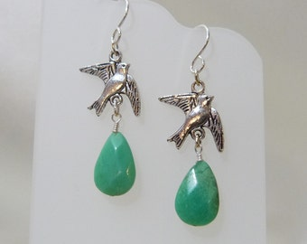 Chrysophase Faceted Teardrop Birds in Flight Earrings