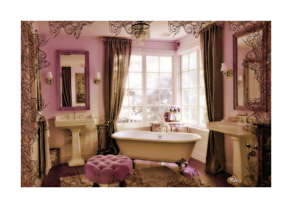 Items similar to instant download purple bathroom decor for Purple and yellow bathroom accessories