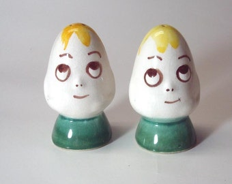 Vintage Anthropomorphic Egg Salt Pepper Shakers