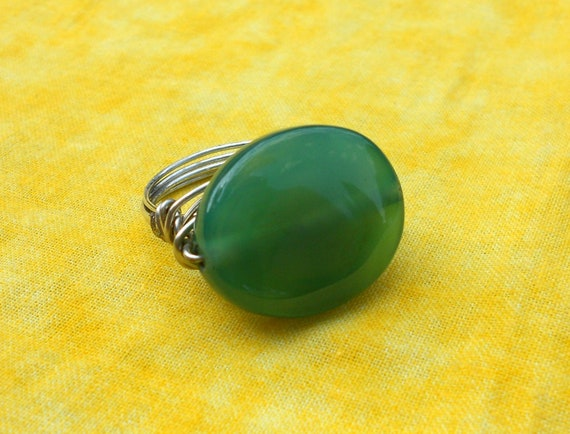 Agate wire ring