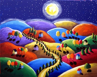 Yellow Road At Night Colorful Whimsical Needlepoint Folk Art
