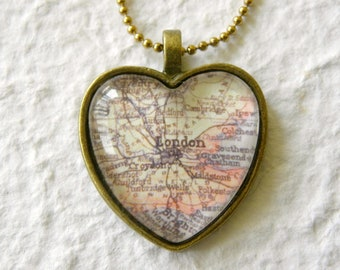 London Map Necklace - Featuring Croydon, Greenwich, Reading, Wimbledon - YOU choose your favorite map from 25 choices - Custom Map Jewelry