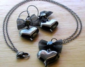 Black Heart Bow Set, Gunmetal Puffed Hearts with Mesh Bows, Earrings, Pendant, Necklace