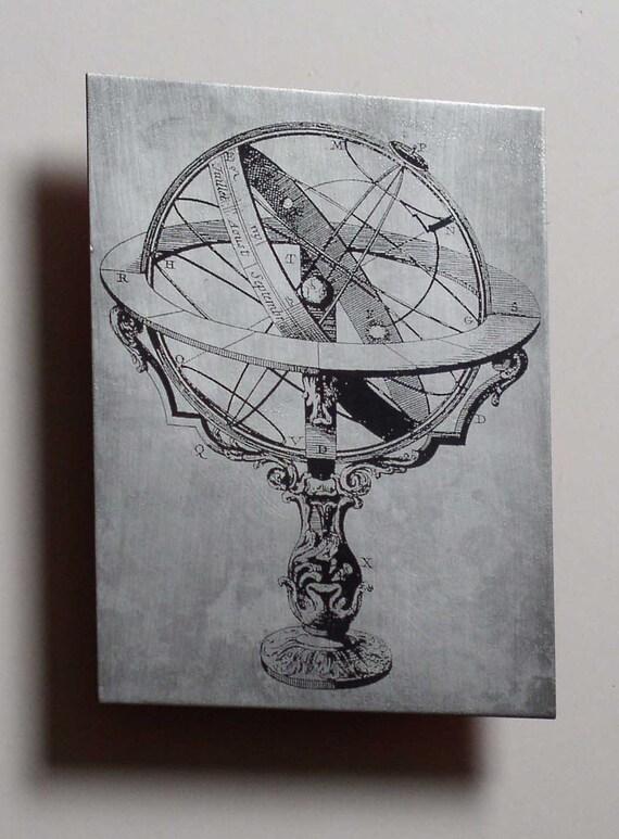 Science art astrolabe armillary sphere metal wall art - science gift - gift for science lover - scientific art - science geek