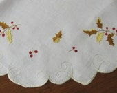 Lg Round Linen Centerpiece Fall Embroidery