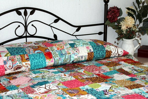 "Patchwork queen/king Bed Quilt KARAVAN 96"" x 107"""
