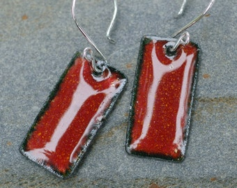 Small Enamel Earrings Copper Dog Tag - Brick