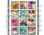 ART TEA LIFE Happy Tiles Collection Collage Sheet Digital File inchies scrabble magnets party favor decoration domino micro slides
