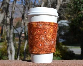 Fabric coffee cozy / cup holder / coffee sleeve  -- Fall Flowers