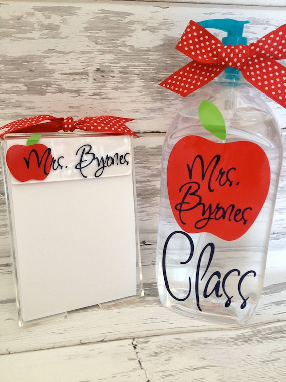 teacher gift set featuring a personalized jumbo hand sanitizer and a monogrammed acrylic notepad holder