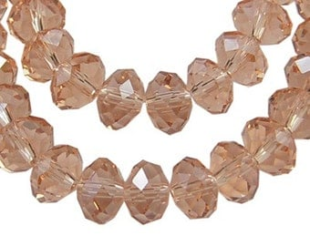 12 8x6mm Czech glass crystal beads, faceted abacus rondelle (dark pink) FA8