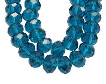 12 blue Czech glass crystal beads, 8x6mm, faceted abacus rondelle (cyan blue) FA8