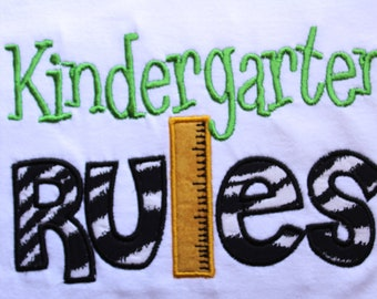 Custom Boys or Girls Kindergarten Pre School 1st 2nd 3rd 4th 5th Rules T shirt