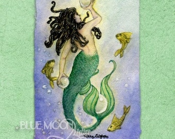 Treasures - mermaid signed print - Mary Layton