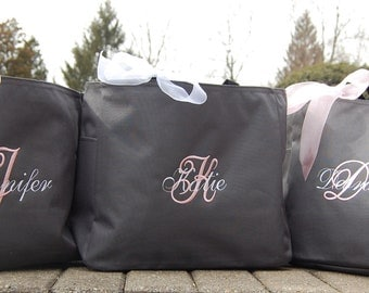 Personalized Bridesmaid Totes Monogrammed - Set of 7 - Bridal Party Gifts Bridesmaid