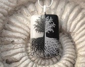 Fused Glass Pendant -Tree of Life - Necklace Mirror Image - Fused Glass Jewelry - Black and White 070912p100