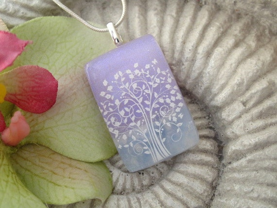 Tree Necklace - Dichroic Fused Glass Jewelry - Friendly  Tree - Fused Dichroic Glass Pendant & Necklace 071112p104