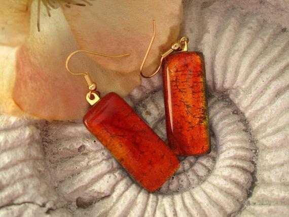 Golden Red Earrings - Dichroic Earrings - Dichroic Fused Glass Jewelry - Dichroic Jewelry  -Fused Dichroic Glass 14KT GF 082312e100