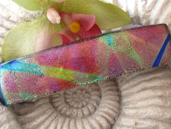 Aurora Borealis - Hair Barrette - French Barrette - Pink Cobalt Gold - Fused Glass Jewelry - Fused Dichroic Glass Barrette 091512b101