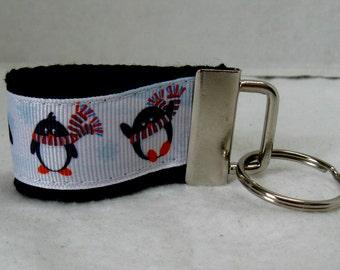HALF OFF Penguin Key Fob Mini - Winter Key Chain - Penguins Zipper Pul l- Last One