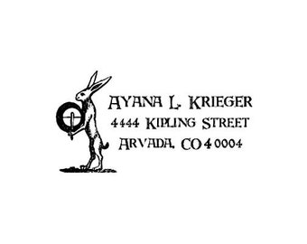 hare playing the drum Custom address rubber stamp - wood handle - personalized