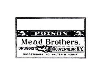 CLEARANCE Vintage Poison Pharmacy label Rubber Stamp with skull and crossbones MEAD BROTHERS