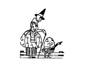 CLEARANCE Vintage Mother goose and Humpty Dumpty Rubber Stamp