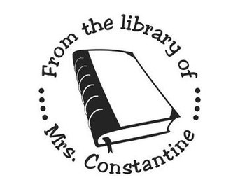 From the Library of book custom Rubber Stamp great for Teacher