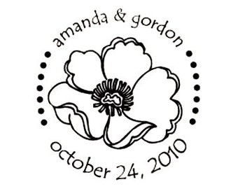 weddng save the date poppy flower custom rubber stamp